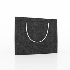 Black paper bag on white background. 3D illustration