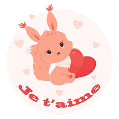 Saint Valentine's Day illustration with squirrel holding a heart