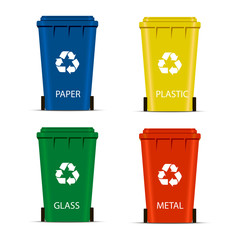 Realistic Set Recycle Bins for Trash and Garbage Isolated on White Background. Waste management concept. illustration in flat design Raster version