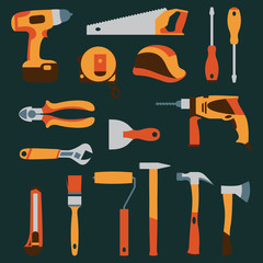 Vector color collection icons of builder equipment vector illustration