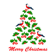 Christmas vector illustration of red bulfinch and rowan in tree
