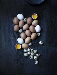 Assorted whole and cracked eggs