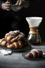 Dusted croissants and coffee