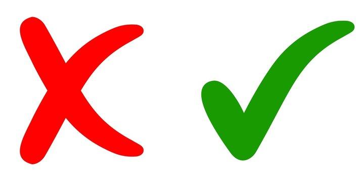 Cross mark and check mark