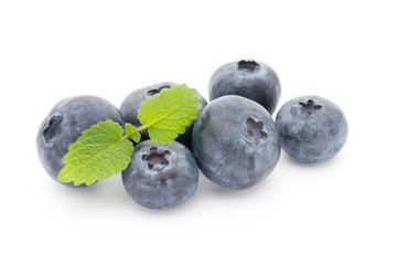 Group of fresh juisy blueberries isolated on white background.
