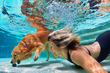 Underwater action. Smiley woman play with fun, training golden retriever puppy in swimming pool - jump and dive. Active water games with family pet, popular dog breed like companion on summer vacation
