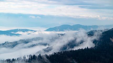 Autumn Fog in Mountains