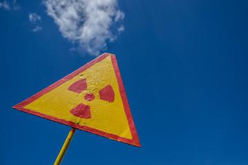 Sign of radioactivity, Chernobyl, Ukraine