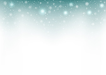 Snowflakes flying abstract blue background