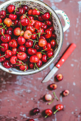 Red cherries in bowl