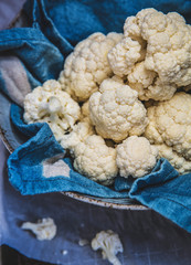 Cauliflower florets on cloth