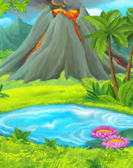 Cartoon nature scene with pond near the jungle - active volcano in the background - illustration for children