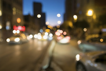 Blurry Cars with Bokeh Lights At The Istanbul