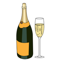 Bottle of a sparkling wine and glass of champagne isolated vector illustration.