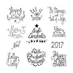 Winter typographic set