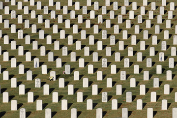 Tombstones at the Chattanooga National Cemetery in Chattanooga, Tennessee
