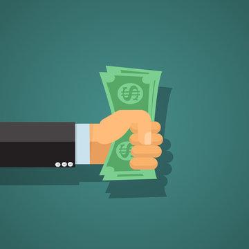 Money in hand  - vector illustration