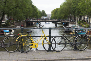 Cityscape with bridges, canals and parked bicycles, typical of this city.