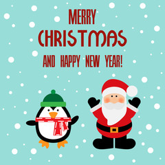 Vector illustration of a Santa and penguin with text merry christmas and happy new year on a snow background