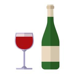 Alcohol drink wine bottle vector.