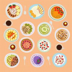 Breakfast cereal porridge vector illustration.