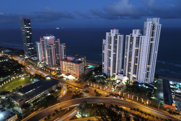 Sunny Isles Beach FL aerial dusk photo