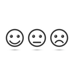 Smiley emoticons icon positive, neutral and negative, vector isolated illustration of different mood.