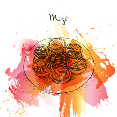 Meze watercolor effect illustration.
