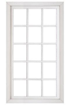 Wood window frame isolated on white background..