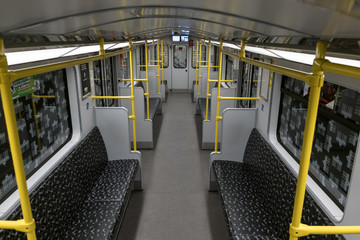 Empty BVG subway train (U-Bahn) / metro train in Berlin