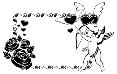Black and white Valentine frame with cupid and hearts.