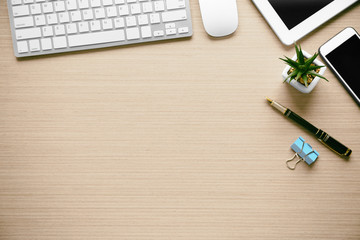 Office tools on wooden background