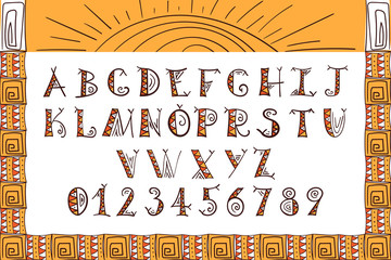 Tribal font. Ethnic alphabet vector. African or Aztec boho style letters.