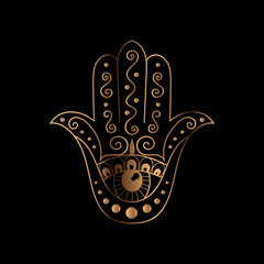 Hamsa vector. Golden black oriental ornament.