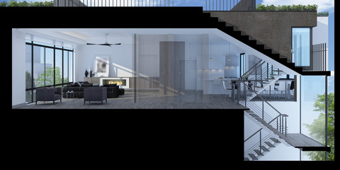 Foto op Aluminium Trappen 3D illustration of a modern living room