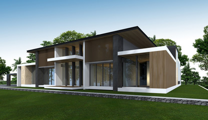3D rendering of tropical house.