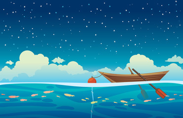 Seascape - wooden boat, sea and night sky.