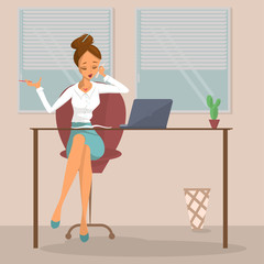 Business woman or a clerk working at workplace. Young woman talks on phone at office desk. Design concept of the secretary or administrator. Isolated Vector illustration eps10