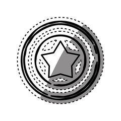 Star in round emblem icon vector illustration graphic