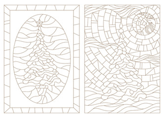 Set of outline illustrations in the style of stained glass with Christmas trees