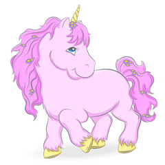 Illustration of a cute pink unicorn on a white background