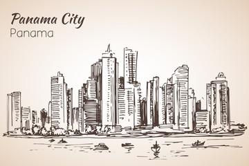 Panama city sityscape sketch. Panama.