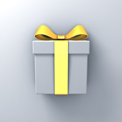 Gift box present with gold ribbon bow on white wall background with shadow 3D rendering