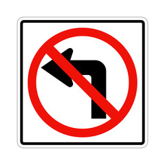 Do not turn left traffic sign on white. American and Canadian style.