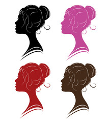 set woman profile - separate vector illustration