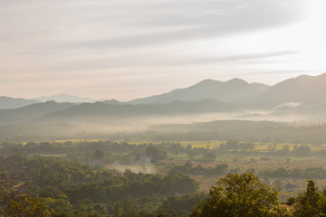 Sunset over Pai District Mae Hong Son, THAILAND.