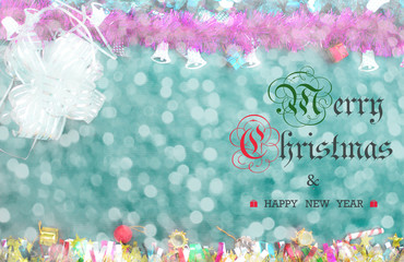 Merry Christmas and Happy New Year text on gifts decoration background.