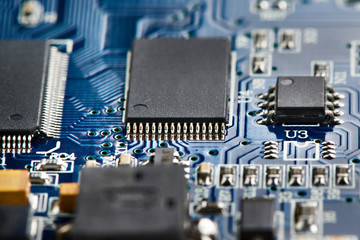 Microchips on electronic board