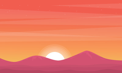 Silhouette of mountain at sunset beauty scenery