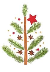 Christmas Tree made of fir tree branches and cinnamon sticks. Ho
